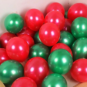 20 bong bóng nhũ màu đỏ và xanh lá trang trí Noel