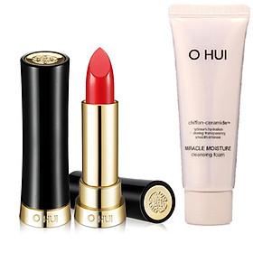 Combo Son môi OHUI Rouge Real Lipstick RW13 và 1 tuýp sữa rửa mặt dưỡng ẩm Miracle Moisture 40ml
