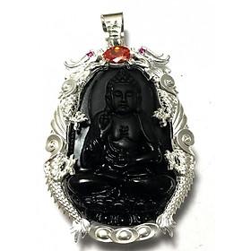 Mặt dây nam bản mệnh ngài ADIDA bọc rồng chầu bạc ta cho người tuổi Tuất - tuổi Hợi Bạc QTJ - MDNA79a(đen)