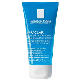 Gel rửa mặt tạo bọt làm sạch & giảm nhờn cho da dầu nhạy cảm La Roche-Posay Effaclar Purifying Foaming Gel (50ml)