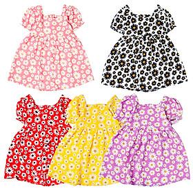 Đầm kate lụa xoè cổ vuông tay bồng cho bé gái từ 8 kg đến 22 kg từ 0.5 đến 7 tuổi 06748-06752