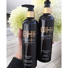 Bộ dầu gội xả CHI Argan Oil Plus Moringa Mỹ 340ml - Dưỡng ẩm mềm mượt trẻ hóa tóc-2