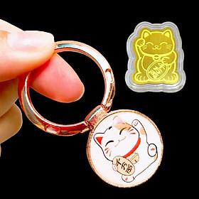 Nhẫn Iring Dán Sau Ôp Lưng In Hình Mèo Thần Tài Siêu Đẹp [ Giao Hình Ngẫu Nhiên] Kèm Theo Miếng Mèo Thần Tài Mạ Vàng [Gía Đỡ,Iring Nhẫn]