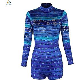 Đồ bơi liền mảnh nữ Lan Hạnh áo tay dài quần shorts Xanh họa tiết 30032-XD205