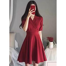 Đầm vest đỏ thắt eo