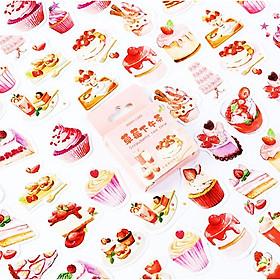 Hộp 46 Nhãn Dán Sticker Trang Trí Bánh Ngọt Strawberry Tea Time