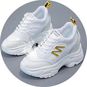 Giày Sneaker  Nữ Độn Đế 5p M Viền Vàng Cá Tính Cho Nàng