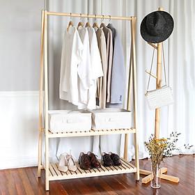 Kệ gỗ treo quần áo 2 tầng gỗ mật hồng tự nhiên an toàn, không sơn, sành điệu