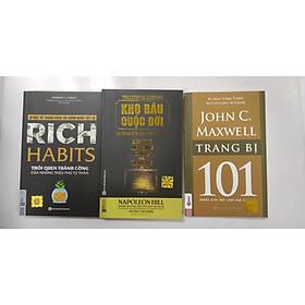 Combo 3 cuốn sách: kho báu cuộc đời làm thế nào để đạt 4 mục tiêu cuộc đời + Rich Habit  thói quen thành công của những triệu phú tự thân + Trang bị 101 những điều nhà lãnh đạo cần biết
