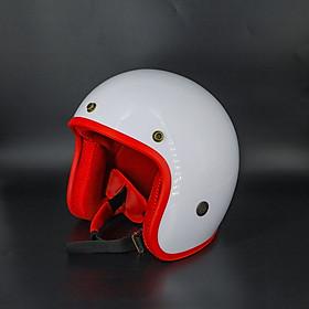 Mũ bảo hiểm 3/4 đi phượt màu trắng lót màu - kèm lưỡi trai