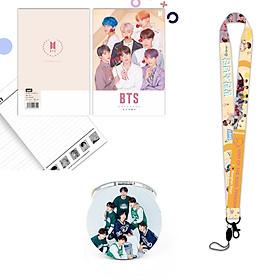 Bộ 3 món dây đeo thẻ BTS persona vở BTS kèm gương BTS