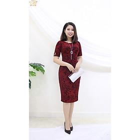 Đầm Thiết kế Đầm xòe Đầm thời trang công sở Đầm trung niên thương hiệu TTV261 đỏ - Đầm ôm nhung xẻ tà CD