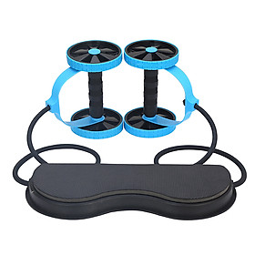Rebound Abdominal Wheel Muscle Wheel Fitness Equipment Machine with Stretching Pull Rope Hassock Kneeling Pad for for-6