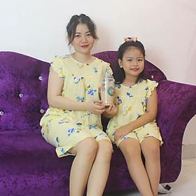 Bộ mặc nhà vải tole lanh tay cánh tiên thoáng mát cho mẹ và bé gái