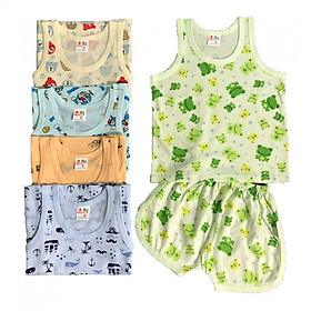 Combo 5 bộ quần áo ba lỗ họa tiết mùa hè