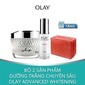 Bộ 2 sản phẩm dưỡng trắng chuyên sâu Olay Advanced Whitening [Tặng Túi Tiện Ích]