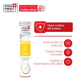 Viên sủi bổ sung vitamin C tăng cường sức đề kháng Swiss Energy Vitamin C 1000mg (tuýp 20 viên)
