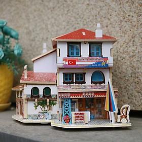 Đồ chơi lắp ráp gỗ 3D Mô hình Nhà gỗ Turkish Convenience Store F141