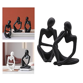 Thinker Sculpture Figurine Home Statues Modern Bookcase Decorations