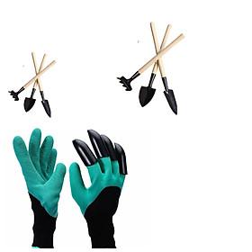 Bộ 1 đôi bao tay làm vườn chuyên dụng + 2 bộ cuốc xẻng mini