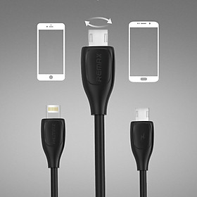 Hình đại diện sản phẩm Cáp sạc remax RC-050t - 2M - 2 ĐẦU Lightning và micro USB - hàng chinh hãng (trắng )