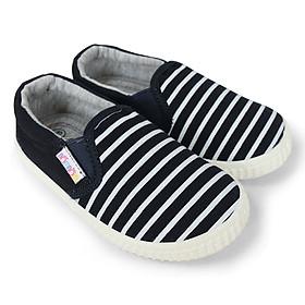 Giày slipon bé trai NomNom EPB1948 kẻ trắng xanh