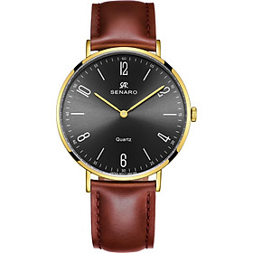Đồng hồ nam dây da SENARO Classic Every Time SAR66016GBZ - Đồng hồ Nhật Bản chính hãng