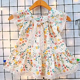 Đầm nơ ren cánh tiên cao cấp họa tiết hoa nhí nhẹ nhàng đáng yêu cho bé 1-7 tuổi chất cotton nhẹ mát – SD072