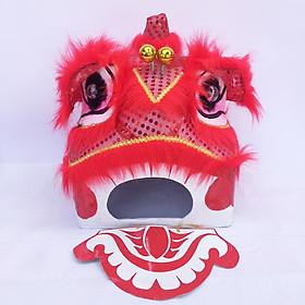 Đầu lân trung thu Sài Gòn có đèn 35cm x 29cm x 27cm - màu đỏ