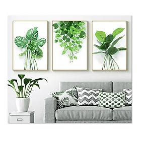 Bộ 3 tranh treo tường trên nền canvas lá cây xanh tươi mát TP0139SS