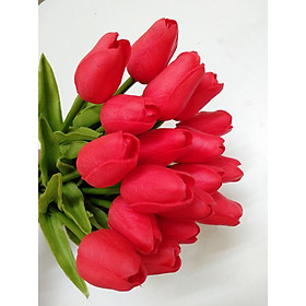 Combo 10 cành hoa tulip silicon mềm đẹp y thật trang trí phòng khách sang trọng