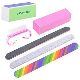 6 Pcs/set Professional Nail Art Styling Tools Nail Cleaning Brush File Buffing Manicure Tools Kit