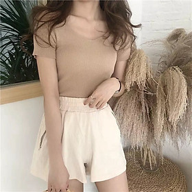 IELGY V-neck short-sleeved sweater solid color T-shirt