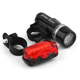 Bộ đèn pin gắn xe đạp và đèn chiếu hậu 5 LED WJ-101 (Đen đỏ) 206211