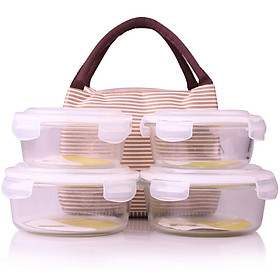 LINUO Heat-resistant glass storage box oven microwave lunch box set four-piece gift cooler (970ml*2+640ml*2) JL4004104