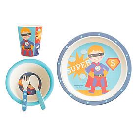 Bộ Dụng Cụ Ăn Uống Bằng Sợi Tre Cho Bé Bamboo Dish Superboy Binggio