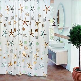 Rèm Phòng Tắm / Rèm Cửa Sổ Trằng Họa Tiết SAO BIỂN 180cm X 180cm Loại 1