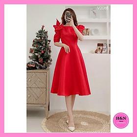 Váy xòe thiết kế tapta sang trọng, váy xòe dài đính nơ vai lịch thiệp, xinh xắn - H&N shop