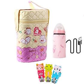 COMBO Bình Ủ Sữa Đôi Giữ Nhiệt + Tấm Ủ USB Hâm Nóng Sữa Tiện Lợi Cho Bé, Nhanh Chóng Cho Mẹ - Tặng 1 bấm móng tay cho bé (giao ngẫu nhiên )