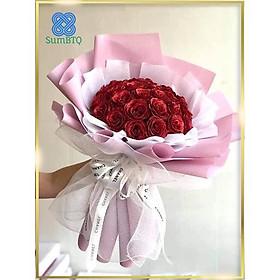 Hoa Hồng Sáp Bó Hoa Giả Nhủ Đỏ