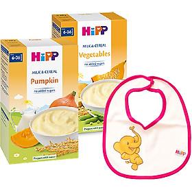 Combo 2 Bột Sữa Và Ngũ Cốc Rau Củ Tổng Hợp HiPP - 3321 (250g) & Bột Sữa Và Rau Củ Dinh Dưỡng HiPP Vị Bí Đỏ 3323 Tặng Kèm 1 Yếm Ăn Dặm HiPP