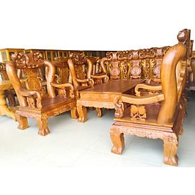 Bộ sofa phòng khách 6 món, gỗ gõ tự nhiên, tay 12