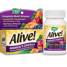 Nature's Way Alive! Women's Energy Multivitamin, Fruit and Veggie Blend (100mg per serving), 50 Tablets