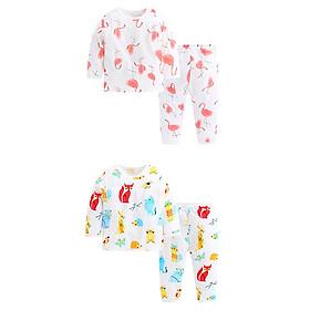 Combo 2 bộ quần áo dài tay cài vai cho bé- chất cotton tre mềm