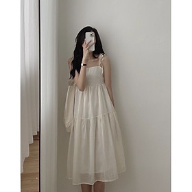 váy 2 dây dáng suông buộc vai 3 tầng điệu đà