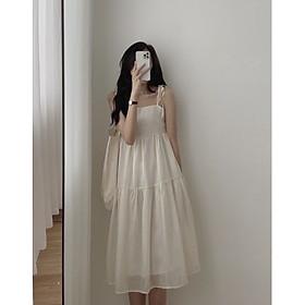 váy suông nữ 2 dây buộc vai chất đũi nữ tính