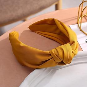 Băng đô cài tóc màu trơn màu vàng phong cách Hàn quốc