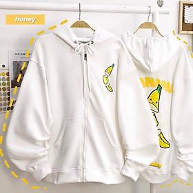 Áo khoác nữ , áo khoác nam , áo khoác cặp đôi vải nỉ ngoại chữ BANANA  chống nắng chống lạnh tốt