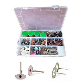 Bộ phụ kiện máy mài khắc đánh bóng mini đa năng 179 chi tiết kèm 2 lưỡi cắt răng cắt gỗ, nhựa và 2 đĩa cắt kim cương