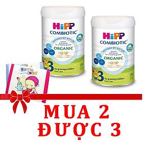 Combo 2 lon Sữa bột Hipp số 1 Organic Combiotic HMP 800gr Mẫu Mới tách tem tặng gối thoáng khí Fralin